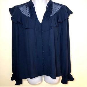NWT Atmosphere flowy ruffle peasant blouse size 8